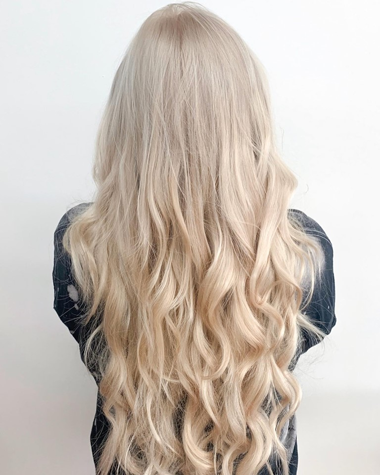 blond hair color with halo extensions in cocoa beach