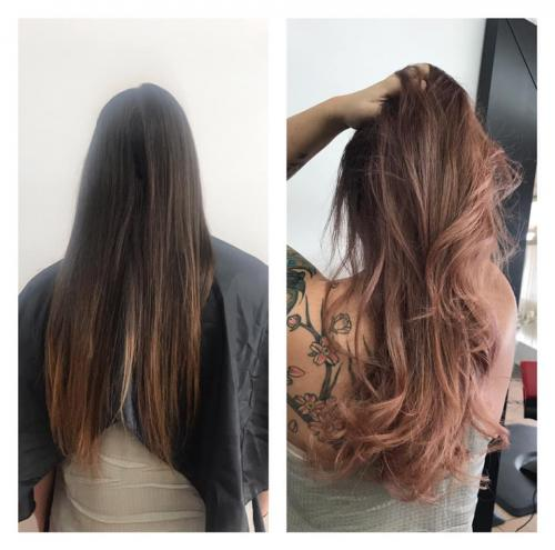 BEFORE AND AFTER ROSE GOLD BALAYAGE AT BEAUTY HAIR SALON COCOA BEACH
