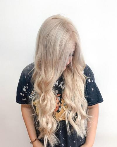 Blonde with halo extensions in cocoa beach florida