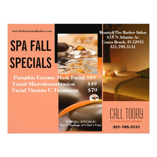 SPA FALL SPECIALS AT BEAUTY & THE BARBER IN COCOA BEACH FLORIDA