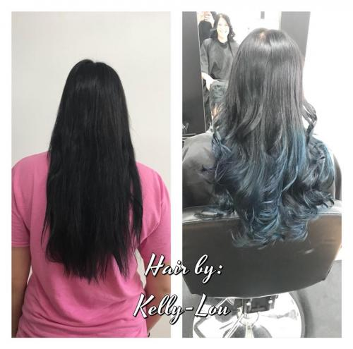 BLUE HAIR COLOR AT BEAUTY AND THE BARBER SALON IN COCOA BEACH