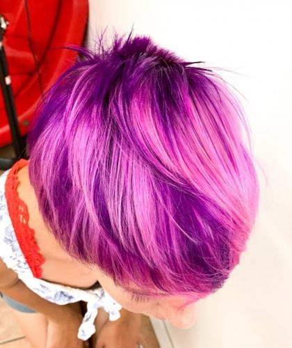 Beautiful purple hair color at Beauty  The Barber hair salon in cocoa beach
