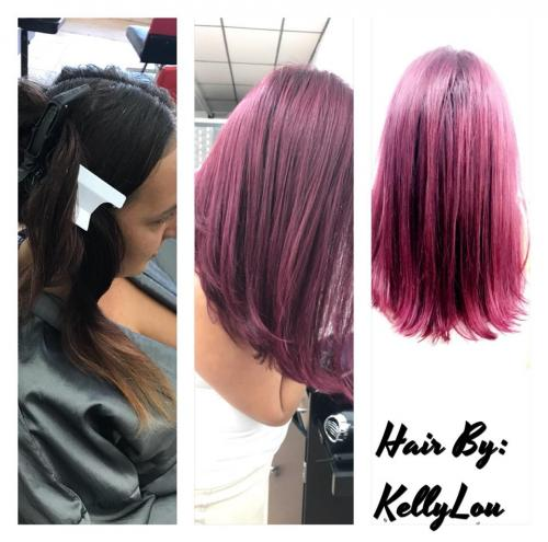 VIOLET  RED COLOR AT BEAUTY  THE BARBER SALON IN COCOA BEACH